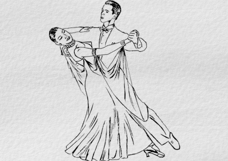 набросок танцевальной пары