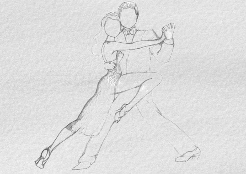рисунок танцевальной пары с растушевкой