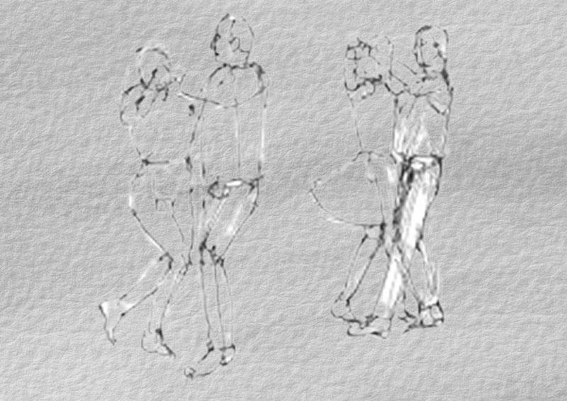 Рисунки танцевальных пар в движении