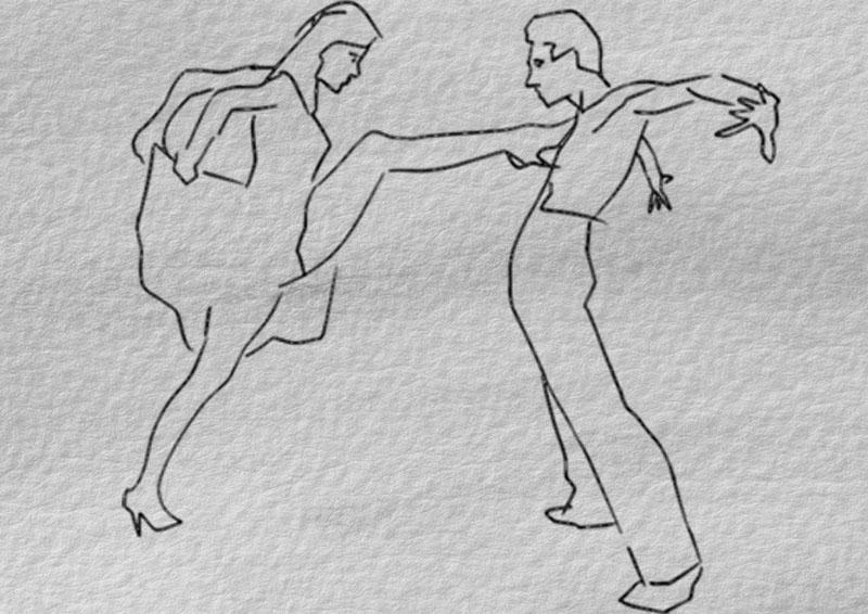 карандашные рисунки танцевальных пар