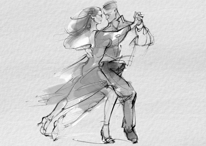рисунки танцевальных пар с тенями